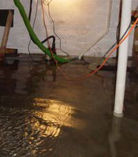 Several feet of floodwaters in a Mendon basement
