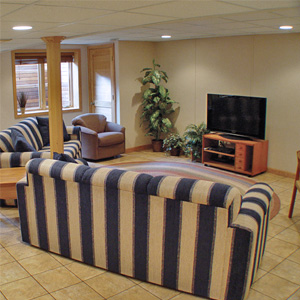 A Finished Basement Living Room Area in La Harpe, IL, IA, and MO