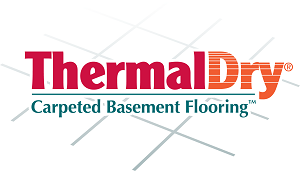 ThermalDry® carpeted basement floor tiles