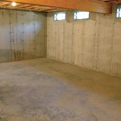 A cleaned out basement in Fort Madison, shown before remodeling has begun