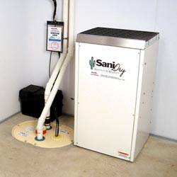An ENERGY STAR® Rated basement dehumidifier installed in a home in Macomb
