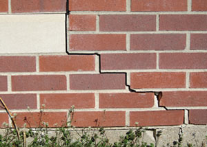 a foundation wall crack on a Liberty home.
