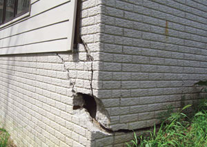 A severely damaged foundation wall in Rushville