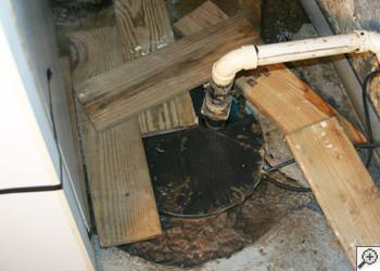 An ugly, clogged sump pump system in Palmyra, Illinois, Iowa, and Missouri