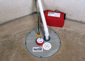 A sump pump system with a battery backup system installed in Warsaw