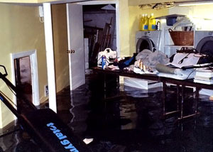 A laundry room flood in Hamilton, with several feet of water flooded in.