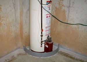 A water heater in Memphis that's been protected by the FloodRing® and a perimeter drain system.
