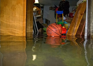 A flooded basement bedroom in Edina