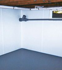 Plastic basement wall panels installed in a West Burlington, Illinois, Iowa, and Missouri home