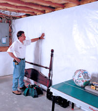 Plastic 20-mil vapor barrier for dirt basements, West Burlington, Illinois, Iowa, and Missouri installation